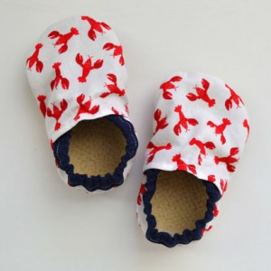 Lobster Baby Booties with Navy rim